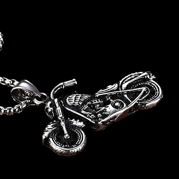 Classy Men Silver Motorcycle Biker Pendant Necklace