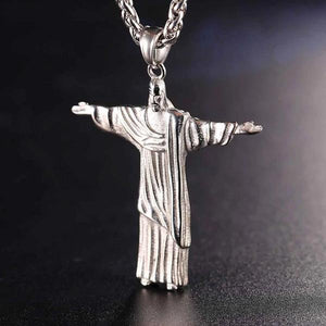 Classy Men Silver Savior Jesus Christ Pendant Necklace