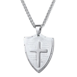 Silver shield pendant necklace with a cross and prayer