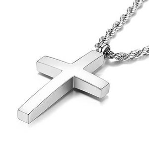 Classy Men Silver Tapered Cross Pendant Necklace