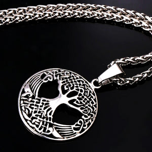 Classy Men Silver Tree Of Life Pendant Necklace