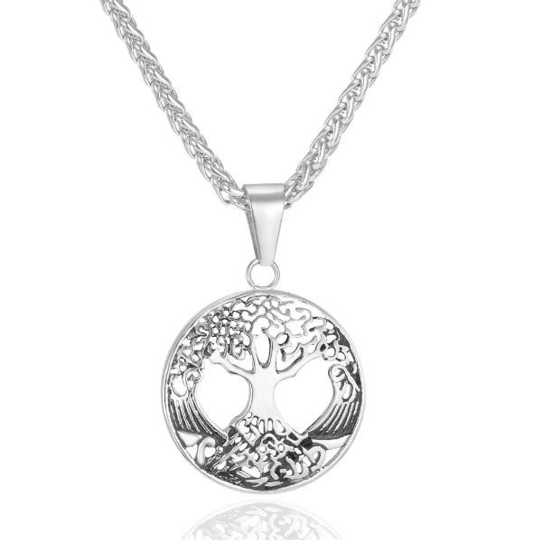 Silver Tree of Life pendant hanging on a chain necklace