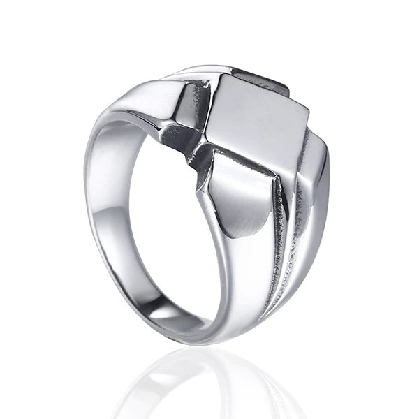 Silver Viking ring with minimal design on a white background