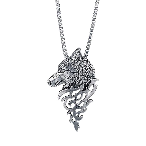 Silver wolf pendant necklace for men