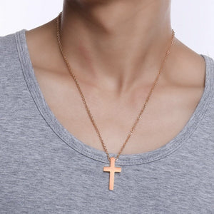 Classy Men Simple Rose Gold Cross Pendant Necklace