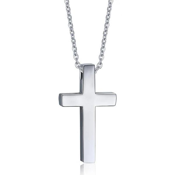 Classy Men Simple Silver Cross Pendant Necklace