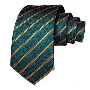 Teal green paisley necktie with gold diagonal stripes made of silk