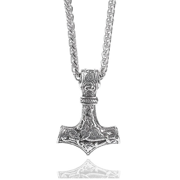 Thor's hammer pendant hanging on a chain necklace