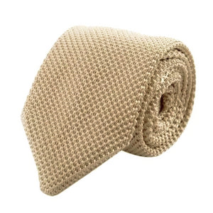 Classy Men Knitted Tie Beige - Classy Men Collection