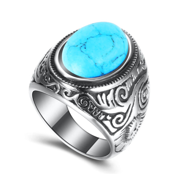 Turquoise stone ring made of stainless steel on a white background