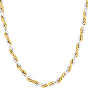 Classy Men 2mm Silver Gold Twist Rope Chain Necklace