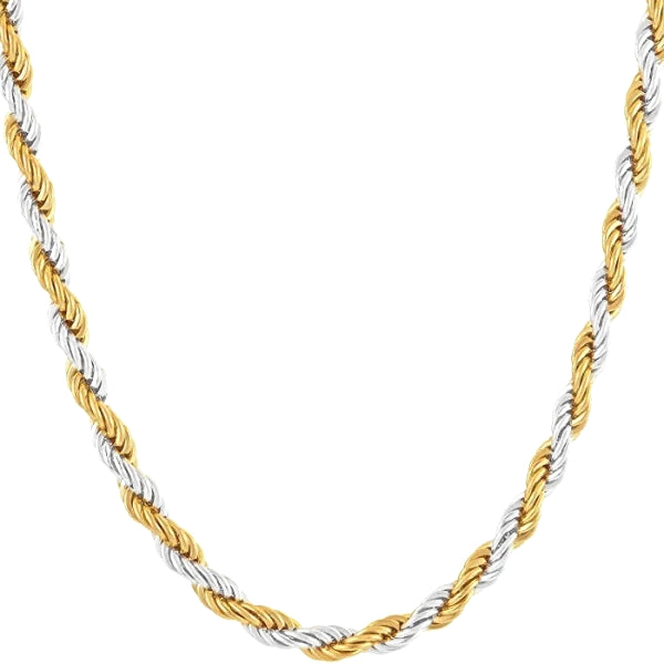 Classy Men 4mm Silver Gold Twist Rope Chain Necklace
