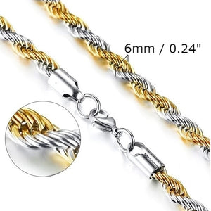 Classy Men 6mm Silver Gold Twist Rope Chain Necklace
