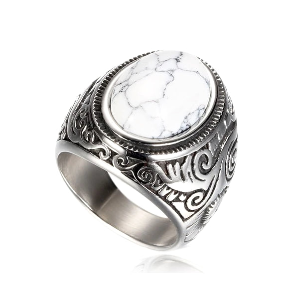 White marble stone ring made of stainless steel on a white background
