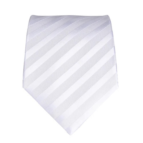 Classy Men White Silver Striped Silk Tie