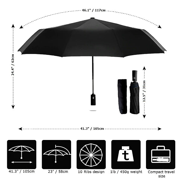 Wine red & black 2 color umbrella size details chart