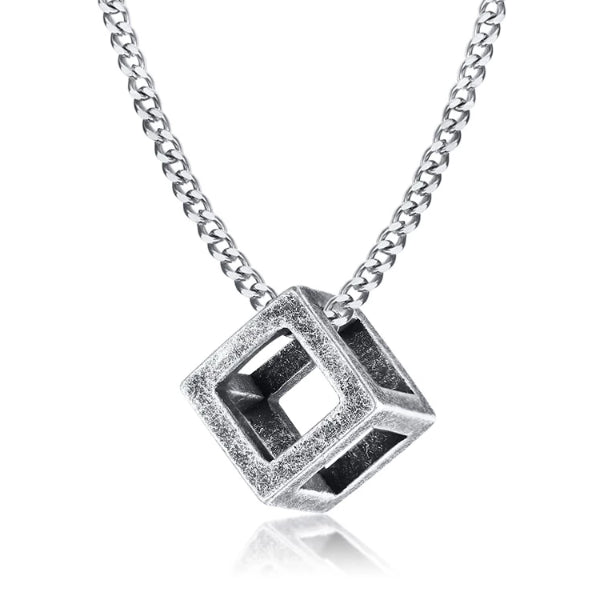 Classy Men Worn Silver Square Cube Pendant Necklace