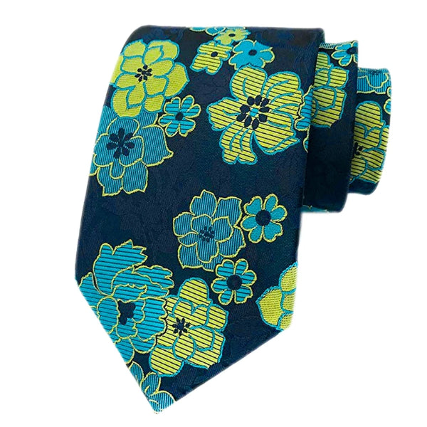 Classy Men Yellow Blue Floral Silk Tie