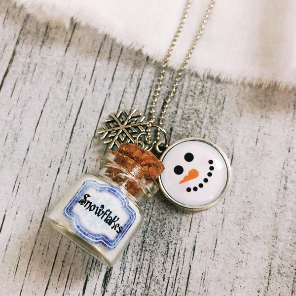 Bottle of Snowflakes Christmas holiday necklace