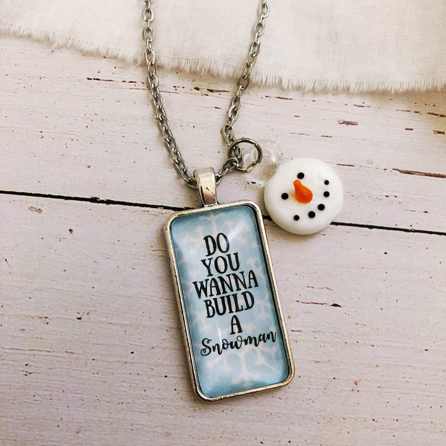Do you wanna build a snowman Christmas holiday necklace