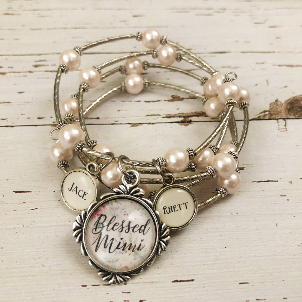 Blessed customized wrap bracelet -Pink Pearl Grandma, nana, mom, mimi, granny, etc!
