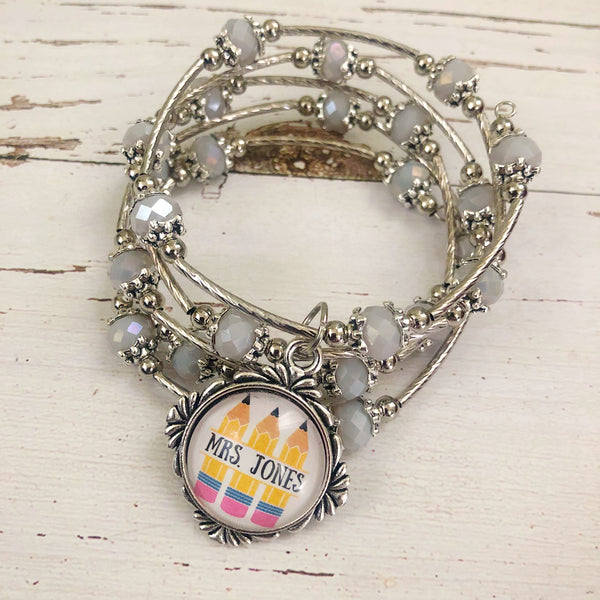 Pencil Personalized Teacher Wrap Bracelet