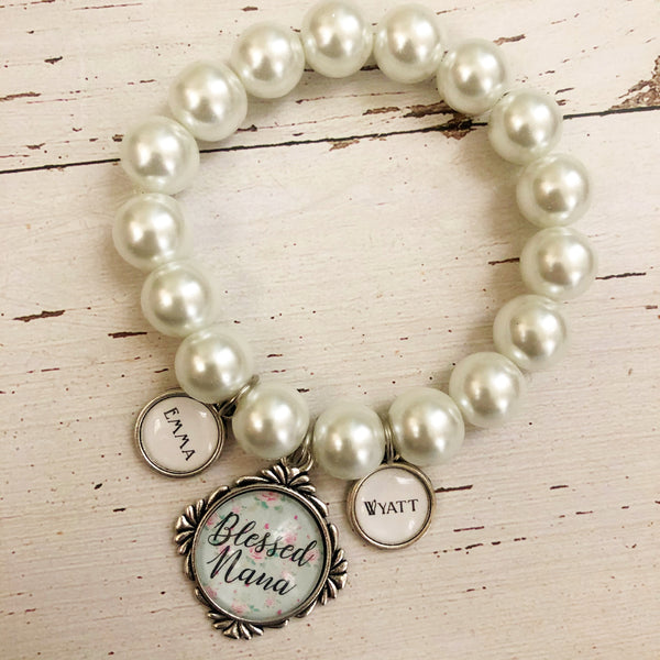 Blessed Customized Stretch Bracelet White Pearl