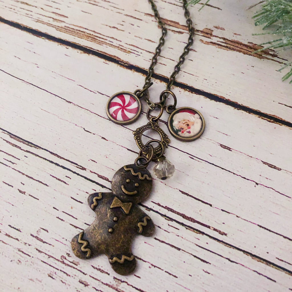 Gingerbread Man Antique Bronze Necklace