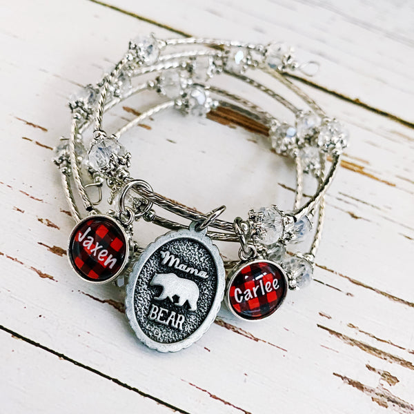 Mama Bear Wrap bracelet with optional plaid personalized name charms