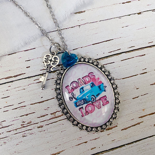 Loads of Love Vintage Truck Image Necklace