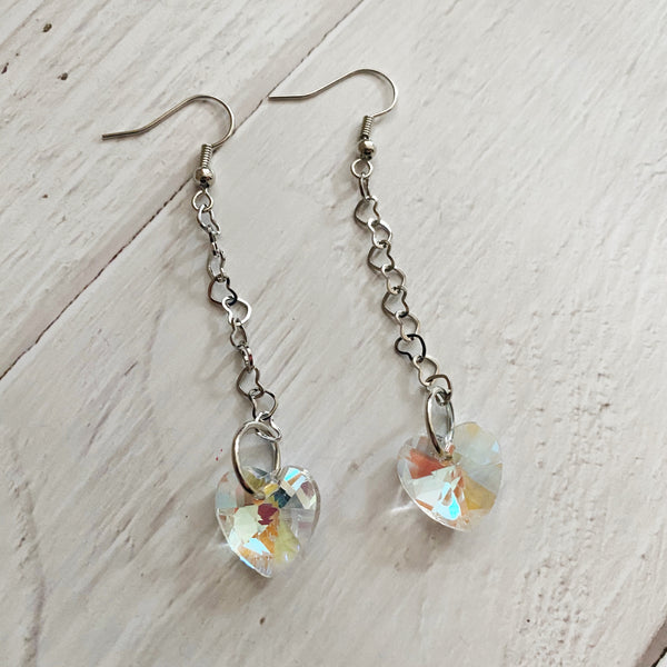AB Crystal Heart Dangle Earrings