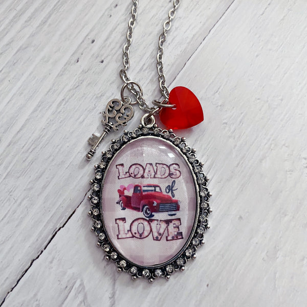 Loads of Love Vintage Red Truck Image Necklace