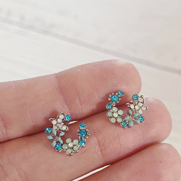 Crescent Floral Stud Earrings