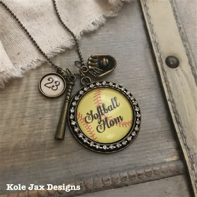 Softball mom antique bronze rhinestone glass necklace with optional personalized name or number