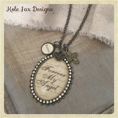 Forever my Angel glass pendant necklace with optional personalized charms
