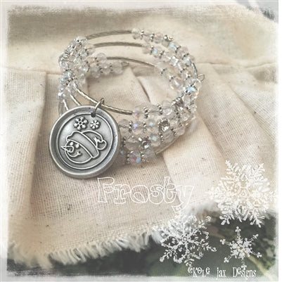 Frosty the snowman beaded wrap Christmas or winter bracelet