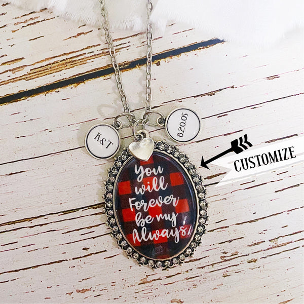 Valentine Custom Glass Buffalo Plaid Necklace