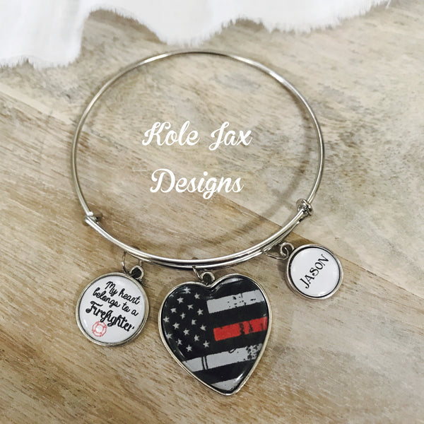 My heart belongs to a firefighter bangle bracelet
