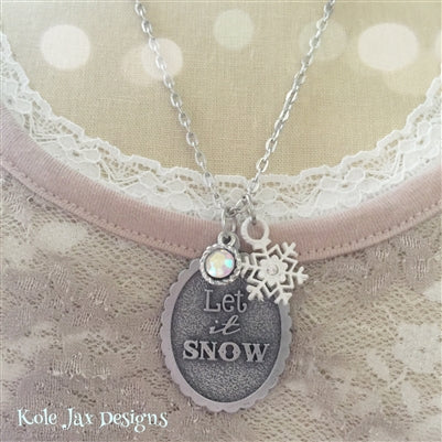Let it snow pendant necklace with cream snowflake charm winter and Christmas