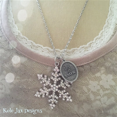 Let it snow rhinestone snowflake pendant necklace winter and Christmas