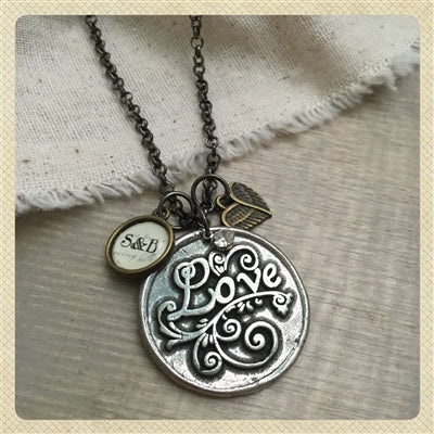 Seal of love pendant necklace with personalized charm options