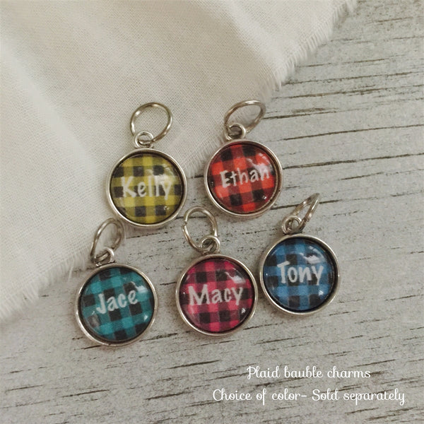 Plaid Add on personalized bauble charm choice of color