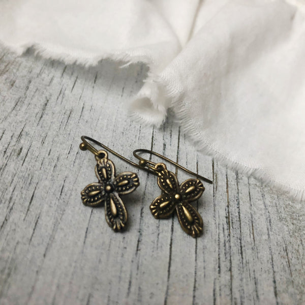Cross earrings antique bronze tone