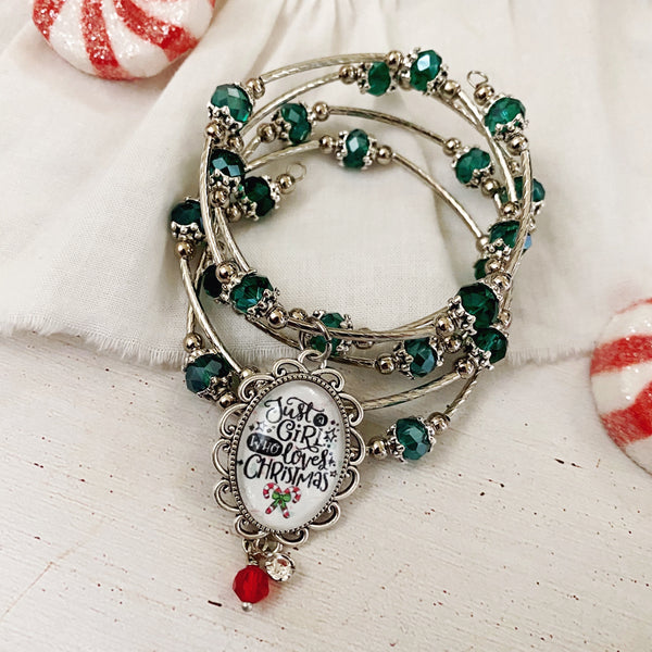 Just a Girl Who Loves Christmas Wrap Bracelet