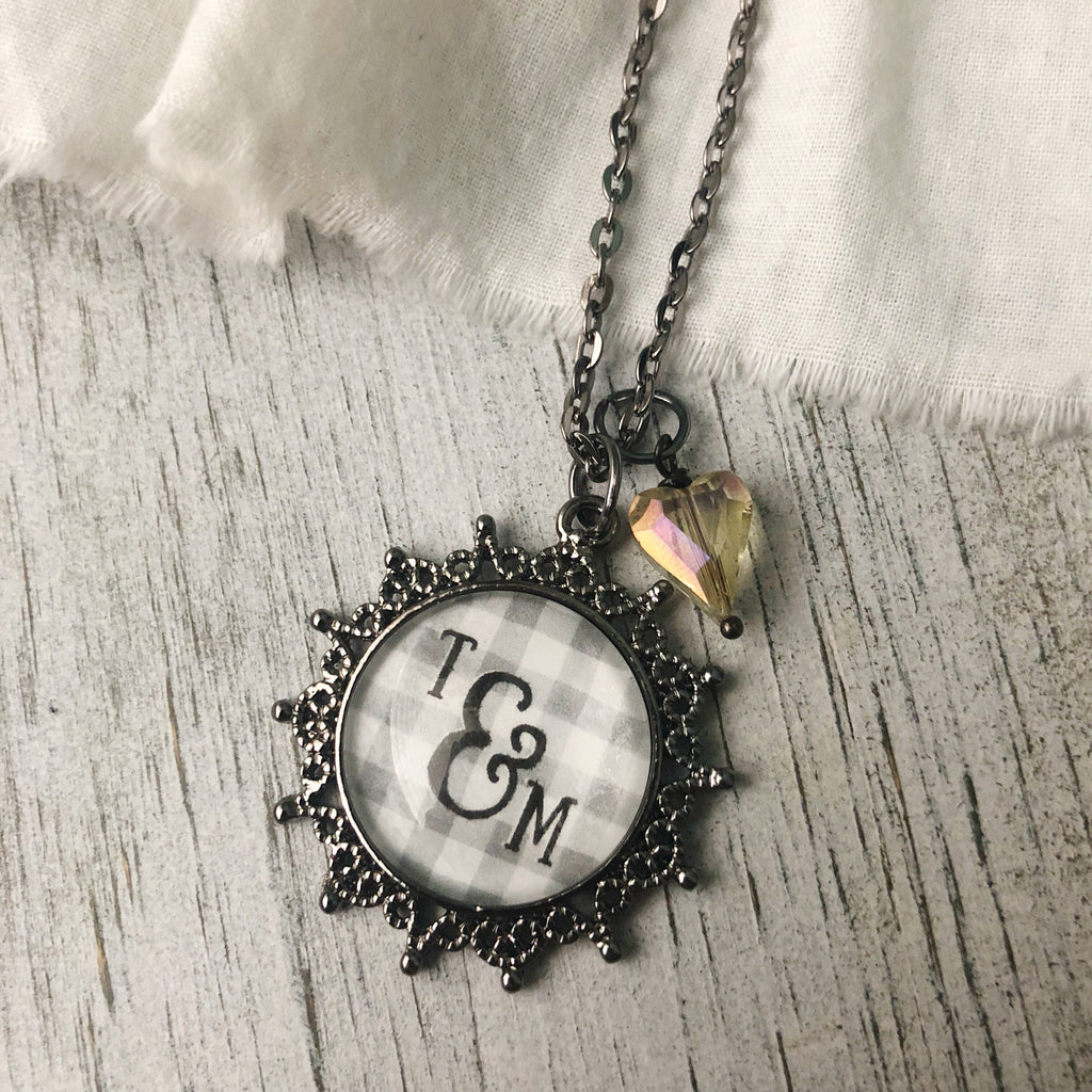 Personalized glass ampersand necklace gray buffalo plaid