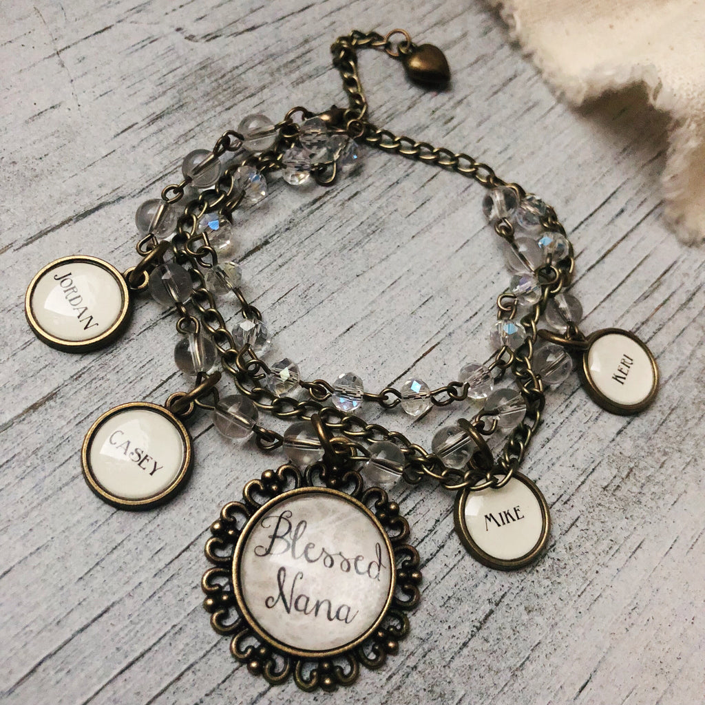Antique bronze beaded customized bracelet - Grandma, nana, mom, mimi, granny, etc!