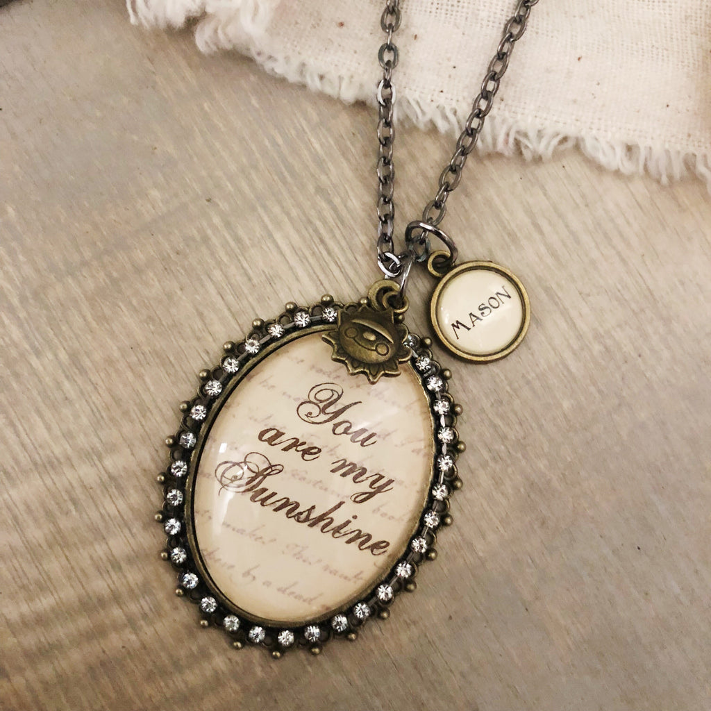 You are my sunshine glass pendant necklace with optional name charms antique bronze