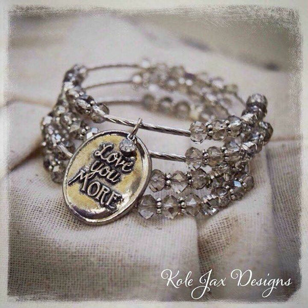 Love you more beaded wrap bracelet
