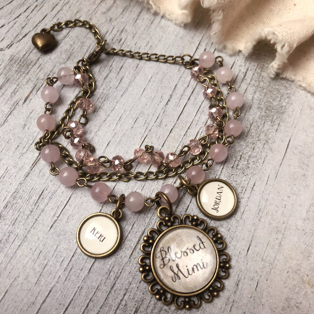 Antique bronze beaded customized bracelet - Grandma, nana, mom, mimi, granny, etc! Pink