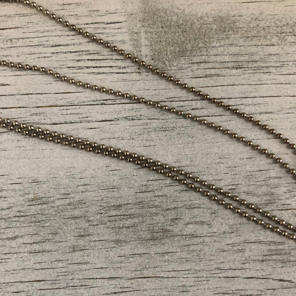 "Regular ball chain 30"" antique silver tone- chain only"